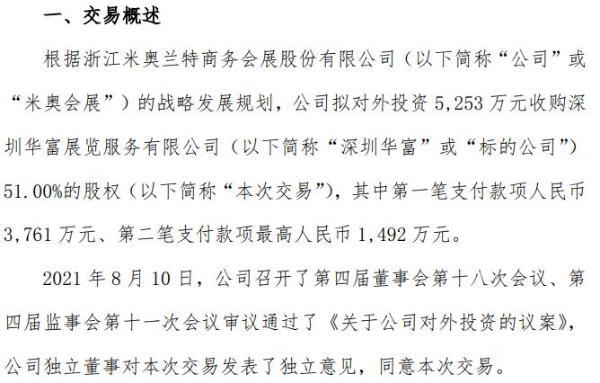 *ST米奥拟对外投资5253万收购深圳华富51%的股权