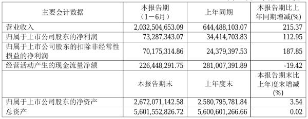 文灿股份2021年半年度净利7328.73万元 同比净利增加112.95%