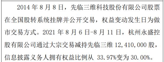先临三维股东永盛控股减持1241万股 权益变动后持股比例为30%