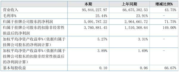绿宝石2021年半年度净利509.18万元 同比净利增加71.75%