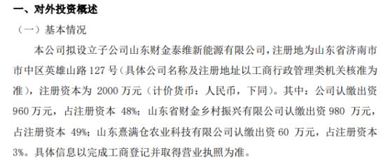 泰维能源拟投资960万元设立子公司山东财金泰维新能源有限公司持股48%