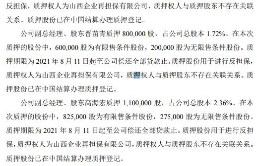 智林股份6名股东合计质押600万股 用于进行反担保