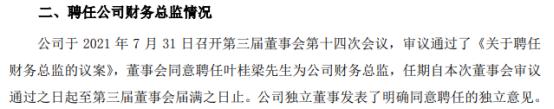 英维克财务总监方天亮辞职 叶桂梁接任 公司上半年净利同比增长40.81%