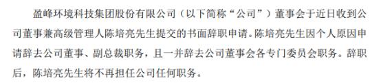 盈峰环境副总裁陈培亮辞职 2020年薪酬为624.91万