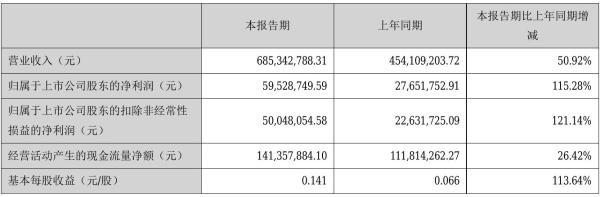 南方汇通2021年半年度净利5952.87万元 同比净利增加115.28%