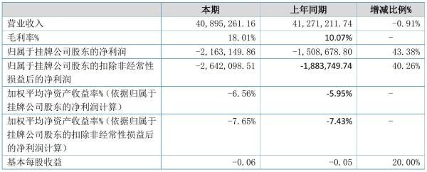 丁义兴2021年半年度亏损216.31万元 同比亏损增加43.38%