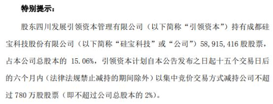硅宝科技股东引领资本拟减持不超780万股公司股份 上半年公司净利9334.12万