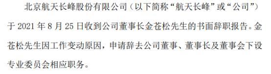 航天长峰董事长金苍松辞职 上半年公司净利7818.46万