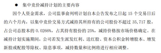 春风动力监事俞列明拟减持不超3.57万股公司股份 一季度公司净利9560.83万