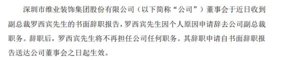 维业股份副总裁罗西宾辞职 一季度公司净利975.96万