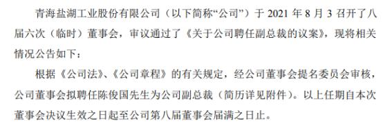 *ST盐湖聘任陈俊国为公司副总裁 一季度公司净利7.93亿