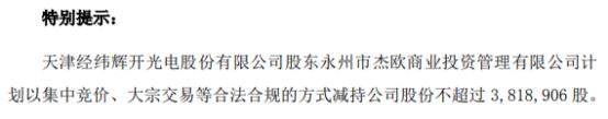 经纬辉开股东杰欧拟减持不超381.89万股 一季度公司净利1287.68万