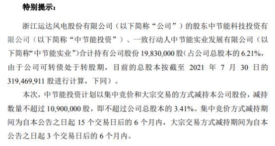 运达股份股东中节能投资拟减持不超1090万股公司股份 一季度公司净利4343.3万