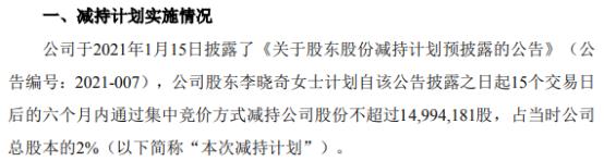 盛新锂能股东李晓奇拟减持不超1728.48万股公司股份 一季度公司净利1.04亿