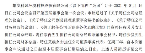 科融环境聘任程芳芳担任公司总经理 一季度公司亏损945.24万