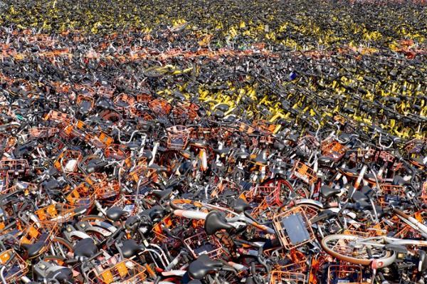 可惜!哈尔滨市区出现共享单车坟场,场内大概有数万辆