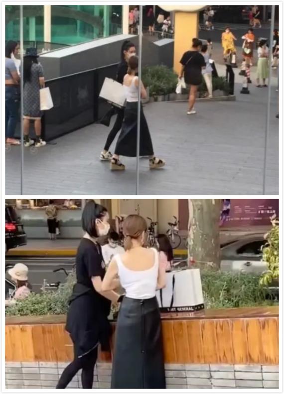 网友偶遇奚梦瑶上海逛街 穿黑色运动服显颀长身材