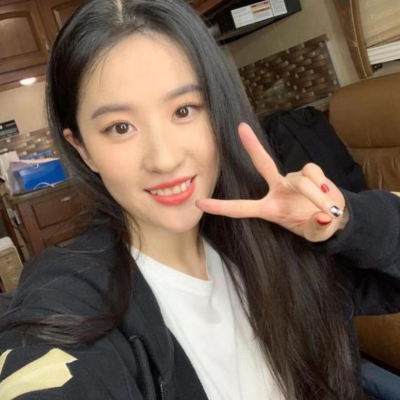 刘亦菲发文庆祝《花木兰》剪刀手自拍获奖