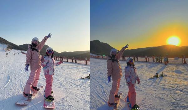 李小璐穿着甜美的滑雪服和日光浴服 粉嫩的母女像姐妹