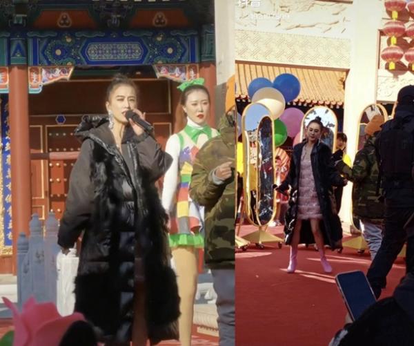 黄圣依户外表演被围观 寒冬中光腿穿旗袍唱歌卖力