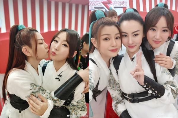陈妍希孙郎姐姐2成员合照 高马尾中国风 英姿飒爽