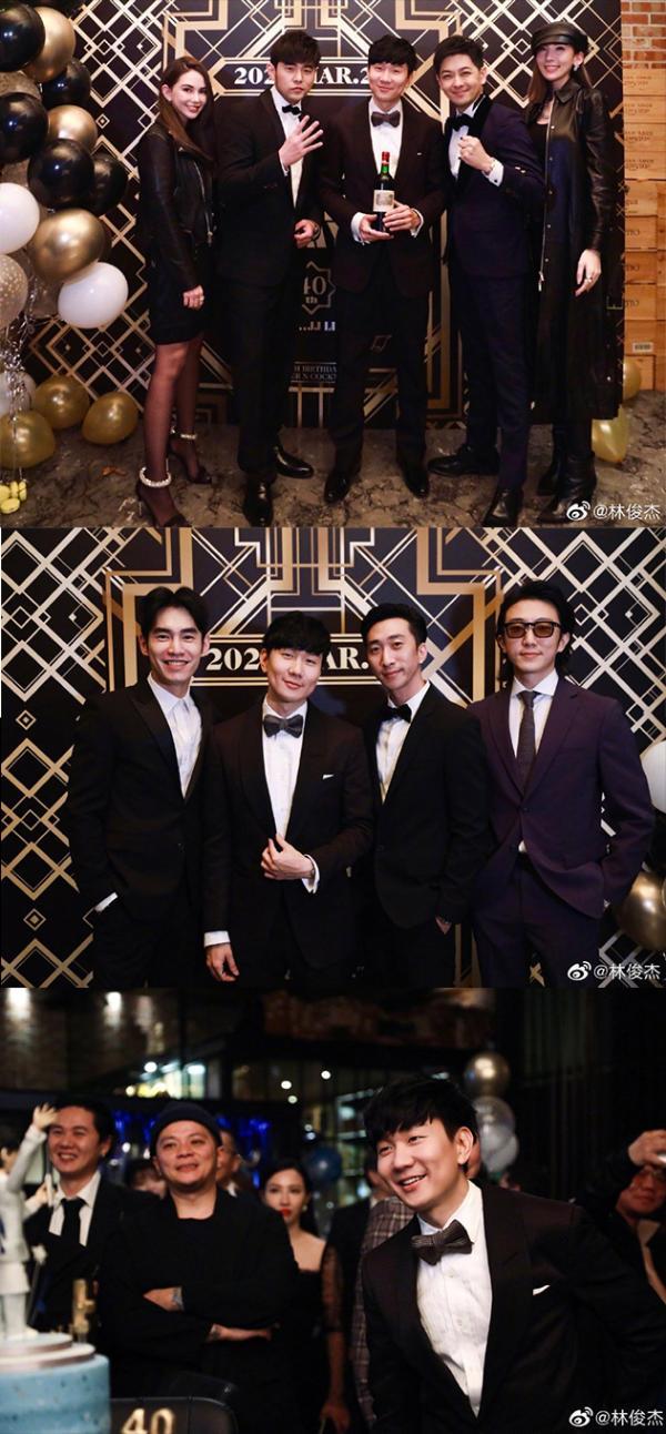 林俊杰庆40岁生日宴 被周杰伦林志颖夫妇夹中间合影被催婚
