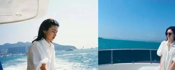 汪峰大女儿小苹果海边度假 气质文艺颇有模特范儿