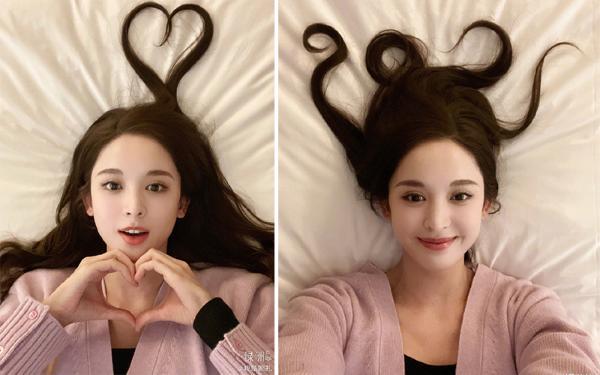 女明星头发都能玩出花!杨幂可爱二次元 baby娜扎都是爱你的形状