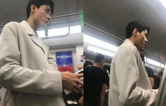 龚俊拍戏坐地铁被偶遇 穿米色外套高大帅气