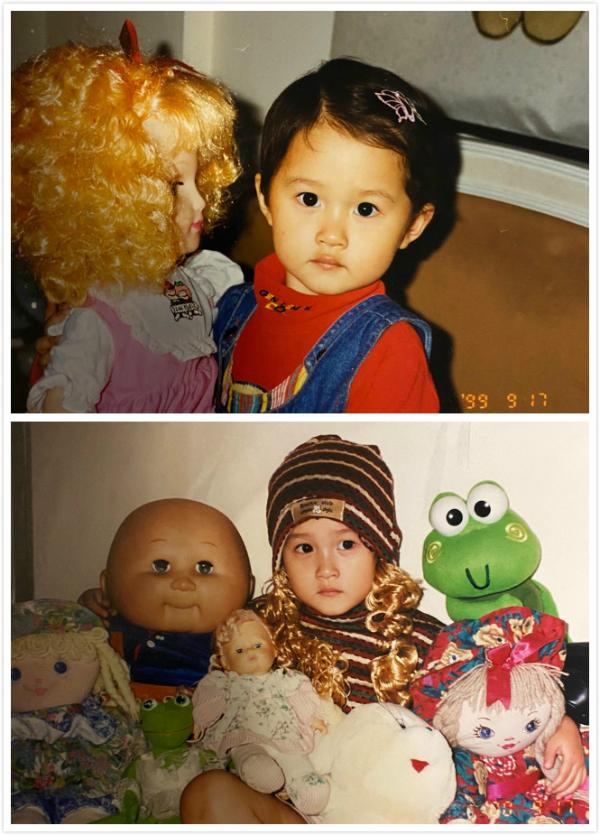 关晓彤幼儿时期童年照曝光 手抱玩偶像极洋娃娃