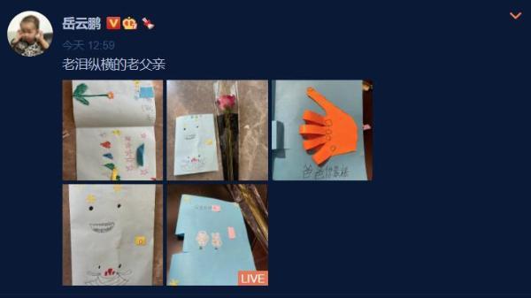 明星过父亲节:陈飞宇晒和陈凯歌旧照 岳云鹏晒女儿绘画