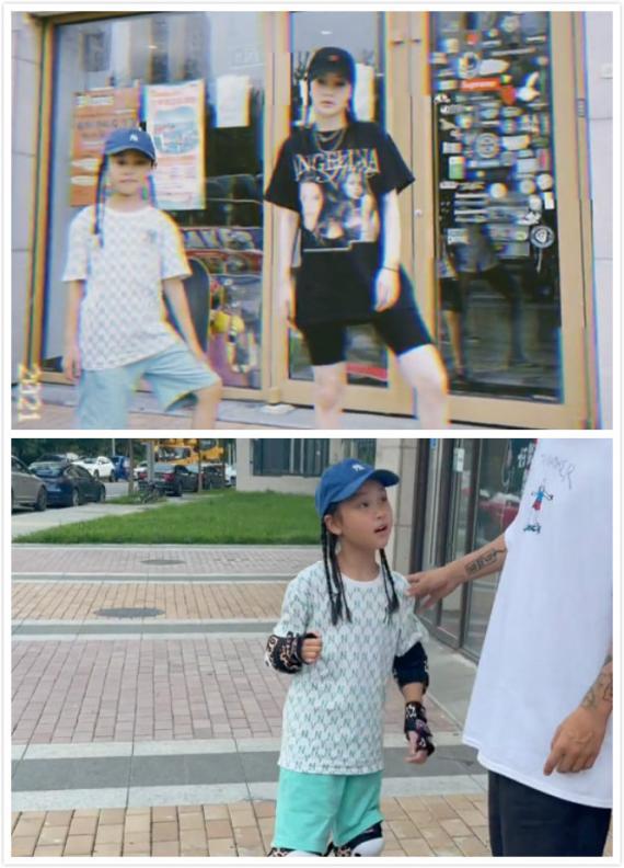 李小璐分享母女玩滑板照片 甜馨扎脏辫又美又飒