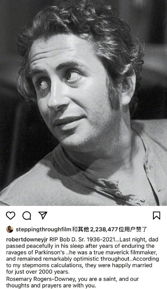 小罗伯特·唐尼悼念父亲:真正特立独行的电影人