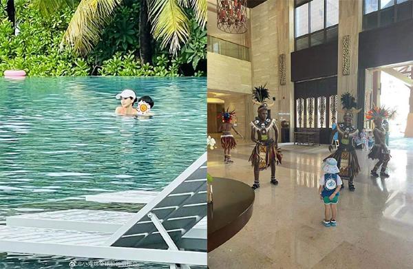 Angelababy带儿子三亚度假 泳池中小海绵紧抱妈妈软萌可爱