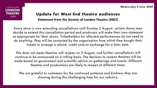 伦敦西区延至8月营业,《了不起的盖茨比》待重启