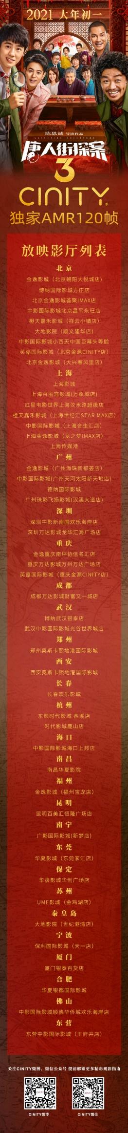 CINITY独家AMR 120帧《唐人街探案3》将于2021大年初一全国上映