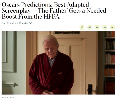 索尼影业出品电影《父亲》成为媒体预测奥斯卡大奖热门影片