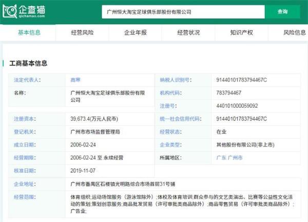 完成变更!广州恒大更名广州足球 下一步还需经足协公示同意