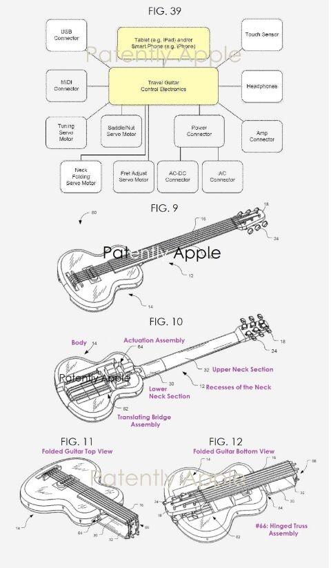 Ciari Guitars新专利涉及可折叠旅行吉他 使用iPhone上的软件就能自动调音