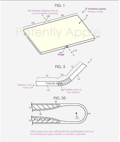 苹果终于决定一项可折叠显示屏专利用于折叠屏笔记本电脑 新增20条权利要求