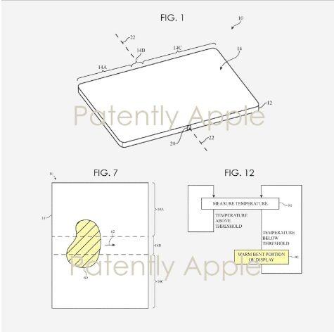 苹果获得45项授权专利:折叠屏可自动加热,避免屏幕在寒冷天气开裂