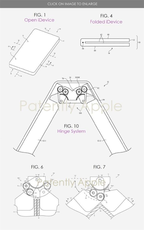 折叠屏一折就破功?苹果新专利设计了复杂的铰链结构,搭配齿轮系统