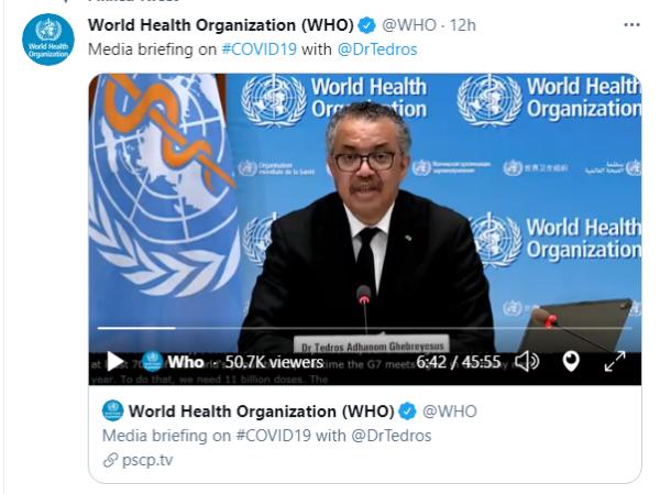 世卫组织:全球新增新冠确诊病例连续七周下降