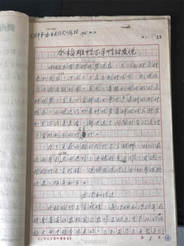 泪目!袁隆平杂交水稻论文原始手稿曝光:红格纹纸已经泛黄 手写汉字整洁