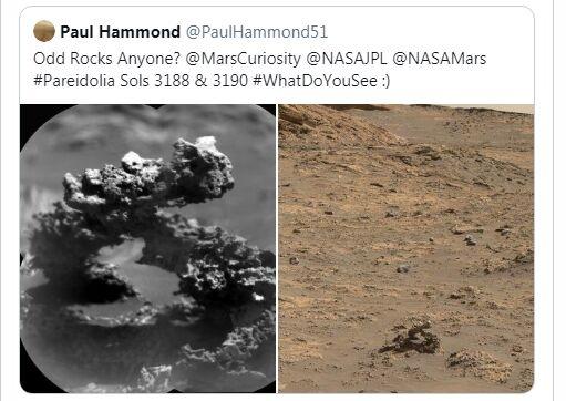 """NASA""""好奇号""""在火星上发现古怪石拱门 纹理奇特看着像一条蛇"""