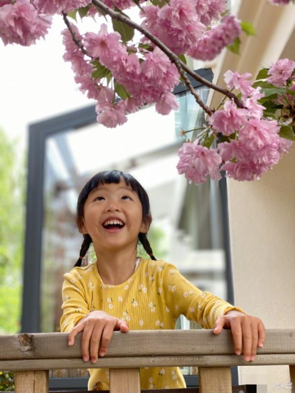 姚晨晒照记录春日瞬间 茉莉看花瓣飘落笑容灿烂