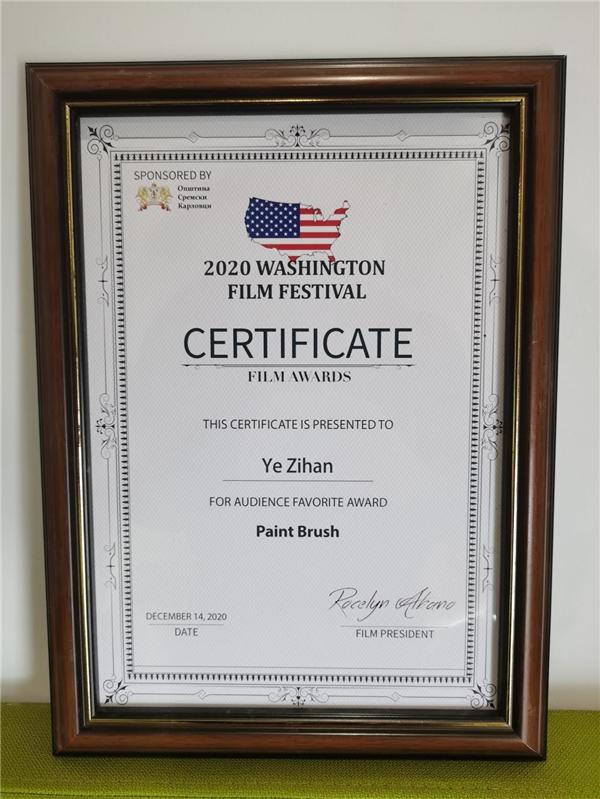 《画笔》亮相华盛顿国际电影节 斩获最受观众喜爱奖