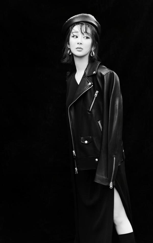 安迪皮开叉裙黑白大片全黑款式酷炫有型