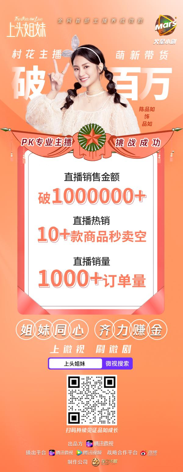 """星之传媒联合微视组""""上头姐妹团"""" 销售破百万 领跑""""直播+微剧""""新赛道"""