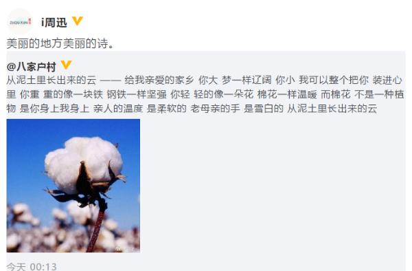 陈建斌为家乡新疆的棉花写小诗 周迅转发赞美